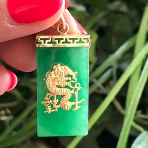 Jewelry - Vintage 14k Yellow Gold Jade Necklace Pendant